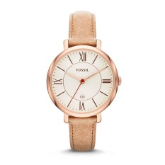Jacqueline Three-Hand Date Leather Watch- Camel